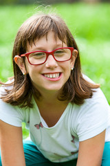 Close up portrait of handicapped girl.