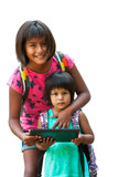Girl showing tablet to youngster. poster