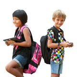 Schoolkids standing with tablet and smartphone.