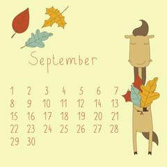 Calendar for September 2014. Year of the Horse.