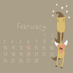 Calendar for february, 2014. Year of the Horse.