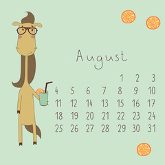 Calendar for August 2014.  Year of the Horse.