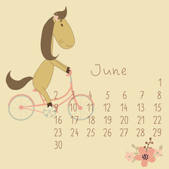 Calendar for June 2014.  Year of the Horse.