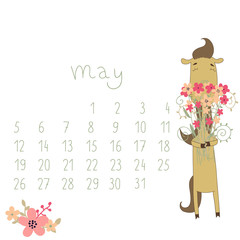 Calendar for May 2014. Year of the Horse.