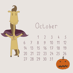 Calendar for October 2014. Year of the Horse.