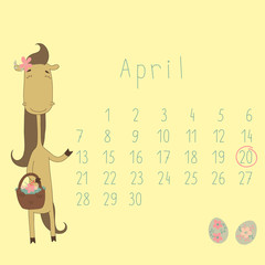 Calendar for April 2014. Year of the Horse.