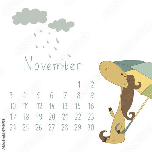 Calendar for November 2014. Year of the Horse.