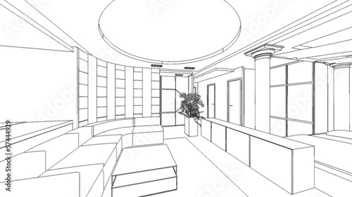 illustration of an outline sketch of a interior.