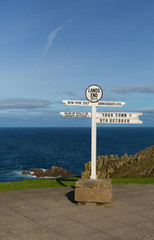 Signpost Lands End Cornwall England uk