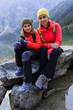 Hiking - family on mountain trek