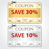 Sale print Coupons, Discount clothing labels. Cut off
