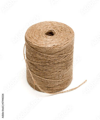 isolated image of brown hemp rope roll