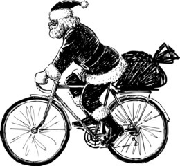 Santa Claus riding a bicycle