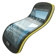 Flexible smartphone, concept illustration.