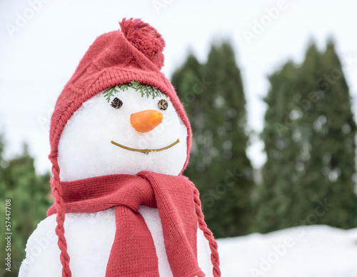 snowman with a pink hat and scarf