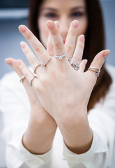 Close up of female hands with rings