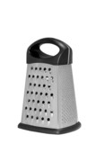 Stainless steel metal food grater.