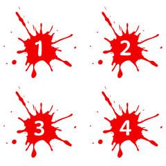 Farbfleck rot Nummer 1234