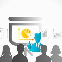 Slide show presentation speaker among people