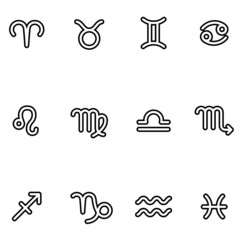 Zodiac signs, black and white, outlined