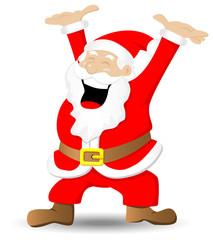 Weihnachtsmann der sich freut auf weißem Hintergrund