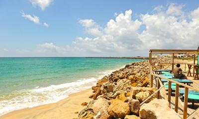 Terrace bar by the sea, Algarve, Portugal