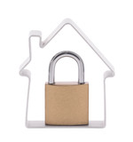 House and padlock with clipping path
