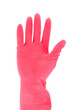 Hand with red rubber glove