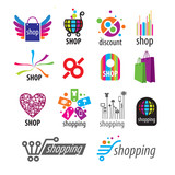 Fototapety collection of vector logos and shopping discounts