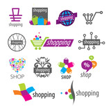 Fototapety collection of vector logos shopping discounts and stores