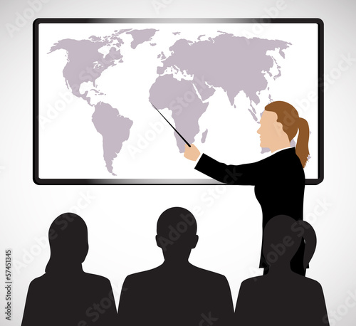 business woman holds presentation