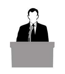 silhouette of the politician before a microphone