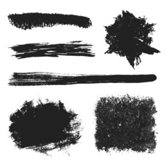 Vector Black Grunge Brushes Set 2