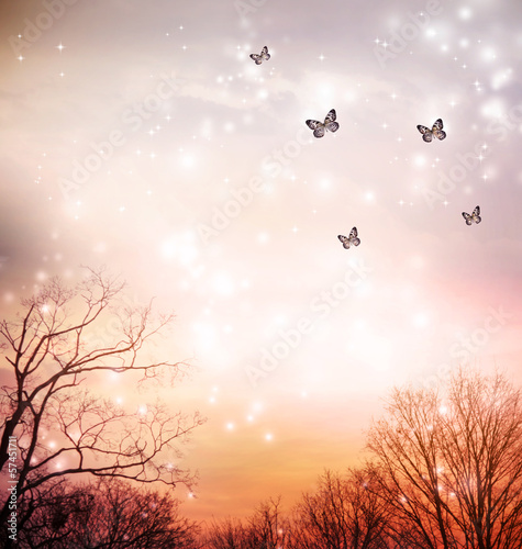 Deurstickers Vlinder Butterflies on red trees background