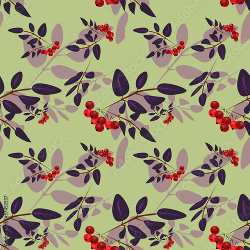 Rowan berry seamless pattern