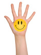 Colored hand with smile