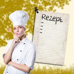 junge Köchin mit Rezept (Template)