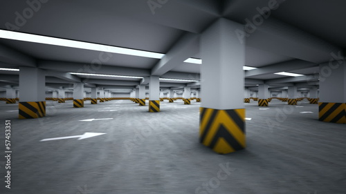 Parking garage underground, industrial interior rotating cycled