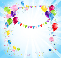 Bright holiday background with balloons