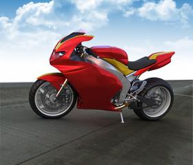 Red sport prototype motorbike