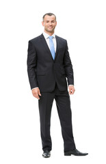 Full-length portrait of business man, isolated
