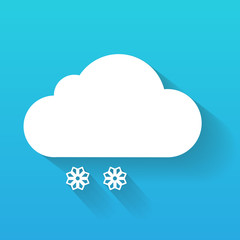 Day cloud and snow flakes isolated on blue