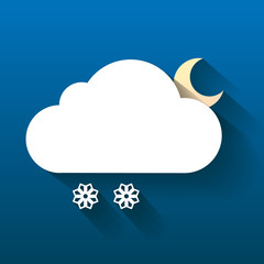 Night cloud, moon and snow flakes isolated on dark