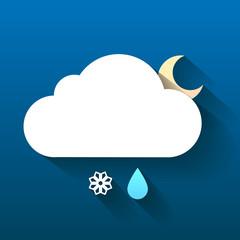 Night cloud, snow flake and rain drop isolated on dark