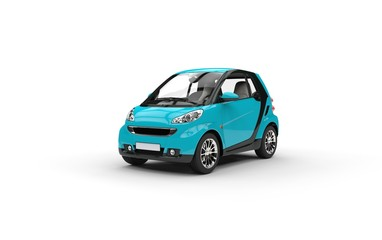 Bright Blue Small Car On White Background