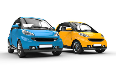 Blue And Yellow Small Cars