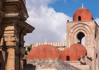 Domes of the San Giovanni degli Eremiti Church, Palermo, Sicily