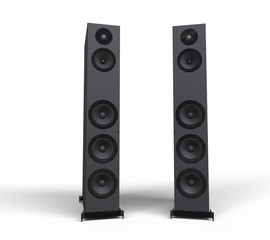 Tall Black Speakers Front View