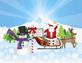 Santa on Reindeer Sleigh With Snow Scene Illustration