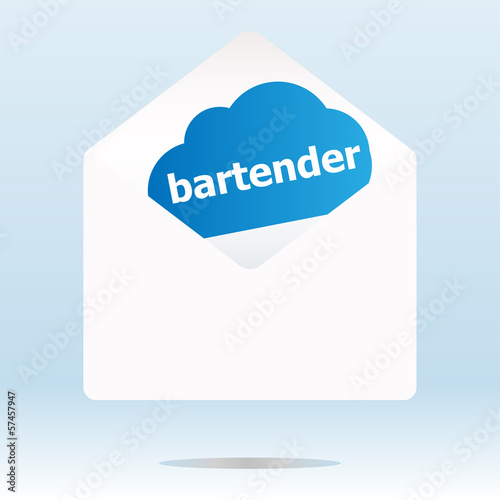 bartender word blue cloud on white mail envelope